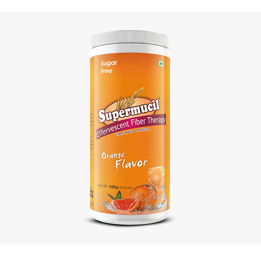 SUPERMUCIL Psyllium Effervescent Fiber Therapy: 300 Gms Orange Flavor Sugar Free