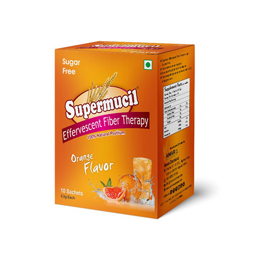 SUPERMUCIL Psyllium Effervescent Fiber Therapy: 5.5 Gms Sachets (10 Sachet Box) Orange Flavor Sugar Free