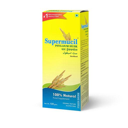 SUPERMUCIL Psyllium Husk (Sat Isabgol): 100 gms Mono Box