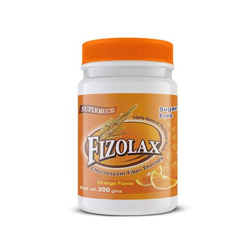 SUPERMUCIL Fizolax: Psyllium Effervescent: Orange Flavour: Sugar-free: 200gms